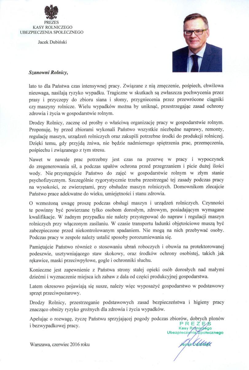 List Prezesa KRUS, Jacka Dubińskiego, do rolników