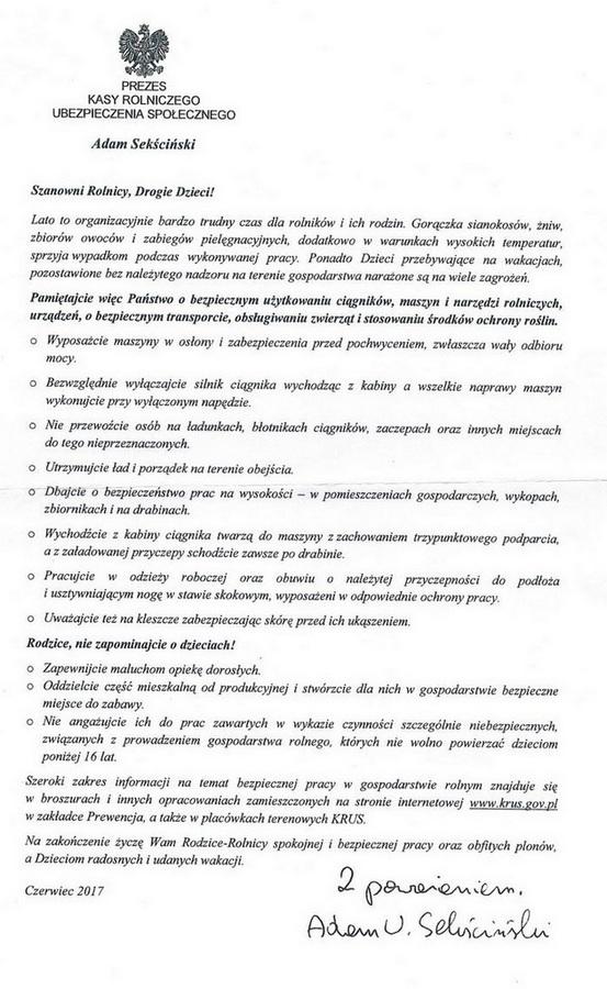 Apel Prezesa KRUS 1